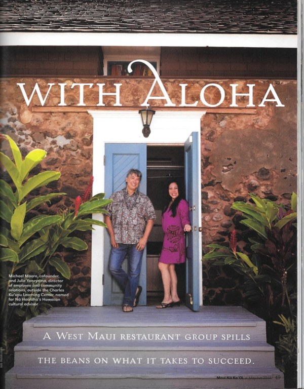 Tear Sheet from Maui No Ka'Oi Magazine story.